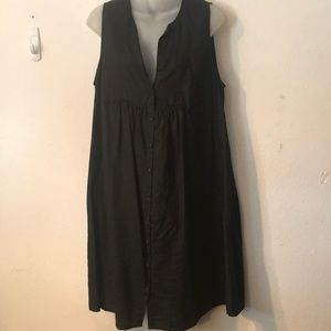 EUC EILEEN FISHER black sleeveless linen dress L